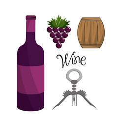 Bottle of wine grape barrel and take out cork vector