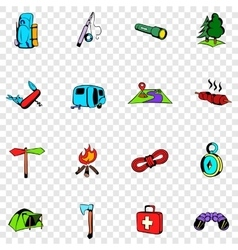Camping set icons vector