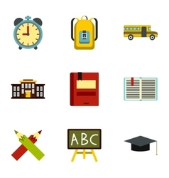 Children education icons set flat style vector