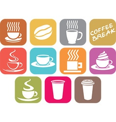 Coffee Cup Icon Set vector image vector image
