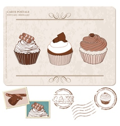 cupcakes postcard with stamps vector image