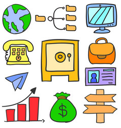 Doodle of business object design style vector