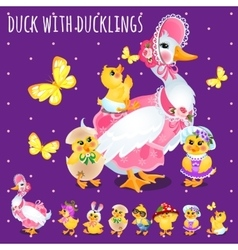 Duck with ducklings big funny family vector