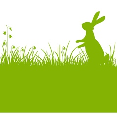 Easter bunny green background vector