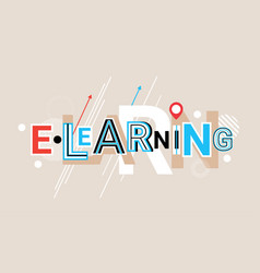 Elearning online education creative word over vector