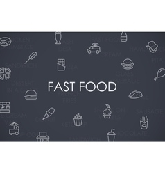 Fast food thin line icons vector