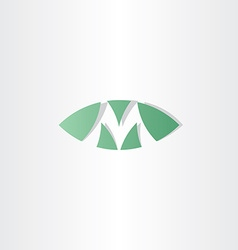 green logotype m letter m logo sign vector image