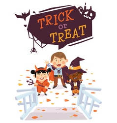 Halloween background with kids vector