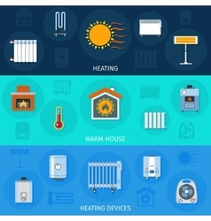 Heating device banner set vector
