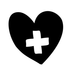 Monochrome silhouette heart with cross inside vector