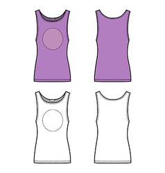 Outline lilac vest isolated on white front back vector