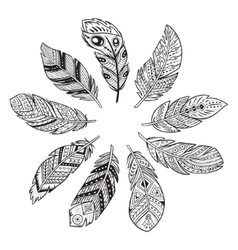 Outline set of abstract boho feathers on a white vector