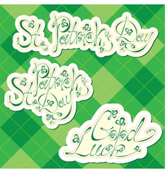 Set of St Patrick day greeting vector image
