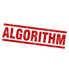 Square grunge red algorithm stamp vector