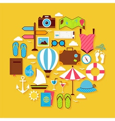 Summer Vacation and Travel Flat Design Circle vector image vector image