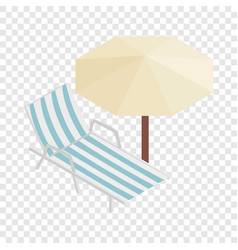 Sun lounger and parasol isometric icon vector