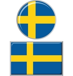 Swedish round and square icon flag vector