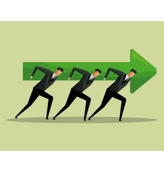 Team work men arrow growth concept cooperation vector