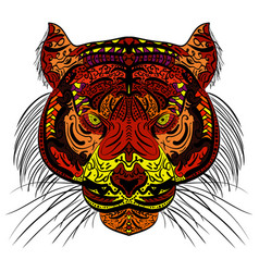 tiger head colored hand drawn zentangle design vector image vector image