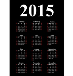vertical calendar for 2015 vector image vector image