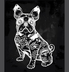 Vintage bulldog or pug decorated in flash tattoos vector