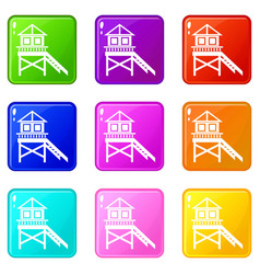 Wooden stilt house icons 9 set vector
