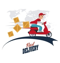 Motorcycle and package icon delivery design vector