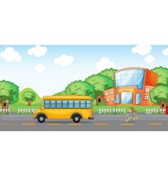 girl running behind school bus vector image