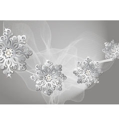 Winter silver background with snowflakes and fog vector