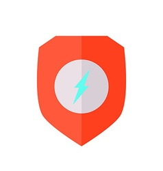 Flat design shield with lightning bolt vector