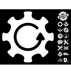 Cog rotation direction icon with tools vector