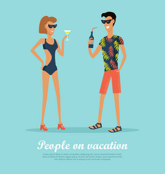 People on vacation drinking cocktails on rest vector