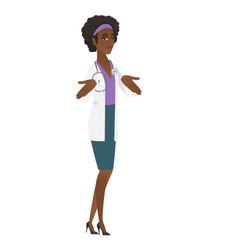 african confused doctor shrugging shoulders vector image