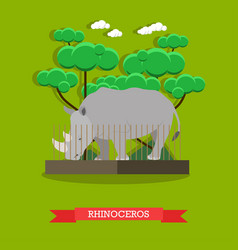 Rhinoceros in flat style vector