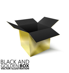 Black and golden open box 3d vector