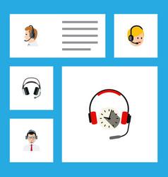 Flat call set of telemarketing earphone vector