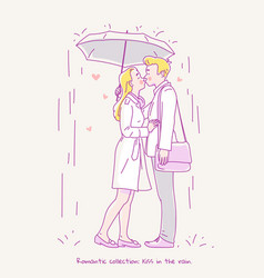 Young couple kissing in the rain under umbrella vector