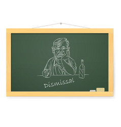 Blackboard with sad businessman with a bottle on vector