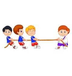Kids cartoon playing tug of war vector
