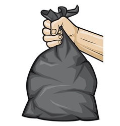 Hand holding black plastic trash bag vector