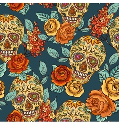 Skull diamond and flowers seamless background vector
