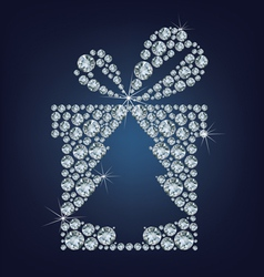 Gift present with christmas tree vector image