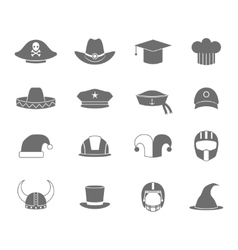 Icons hat set black vector