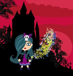 Little witch in night vector