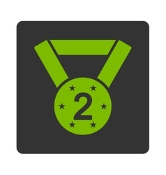 Second medal icon from award buttons overcolor set vector
