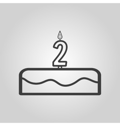Cake with candles in the form of number 2 icon vector