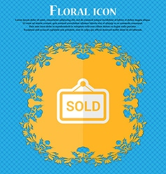 Sold floral flat design on a blue abstract vector
