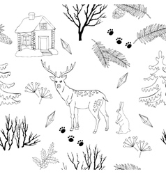 Background with christmas forest vector