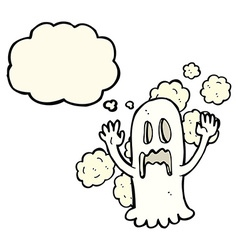 Cartoon spooky ghost with thought bubble vector