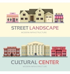 Landscape street town banners set town vector